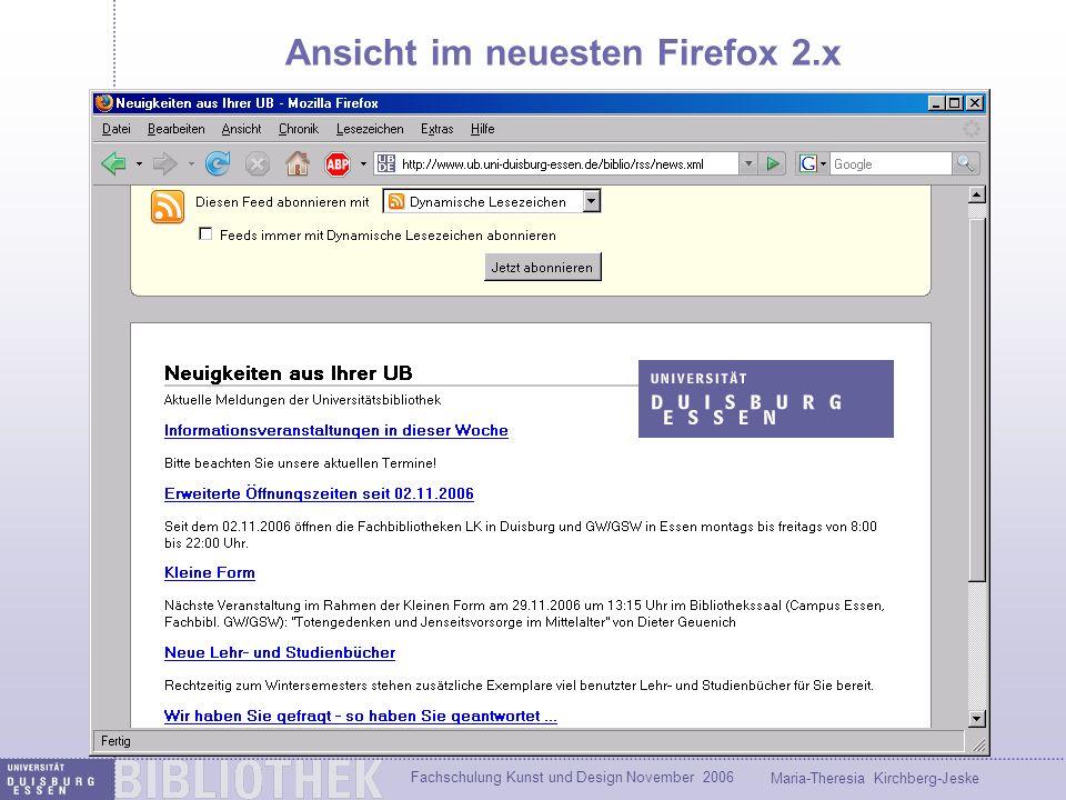 Ansicht im neuesten Firefox 2.x