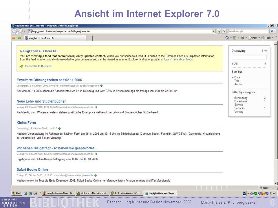 Ansicht im Internet Explorer 7.0