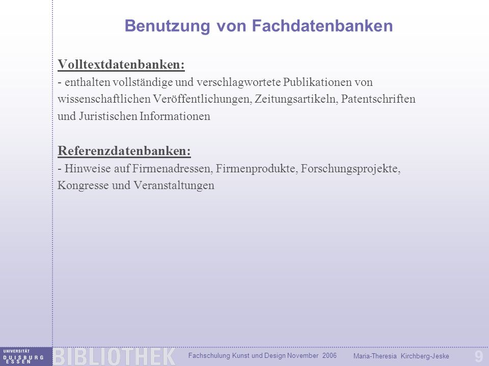 Benutzung von Fachdatenbanken
