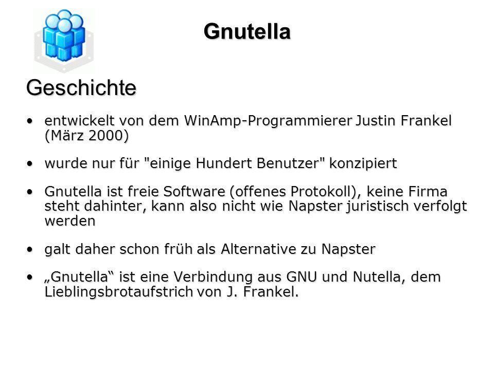 Gnutella Geschichte. entwickelt von dem WinAmp-Programmierer Justin Frankel (März 2000) wurde nur für einige Hundert Benutzer konzipiert.