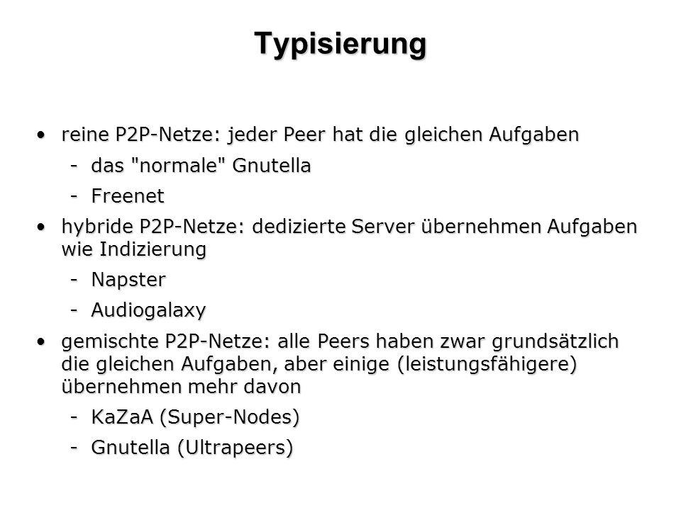 Typisierung reine P2P-Netze: jeder Peer hat die gleichen Aufgaben