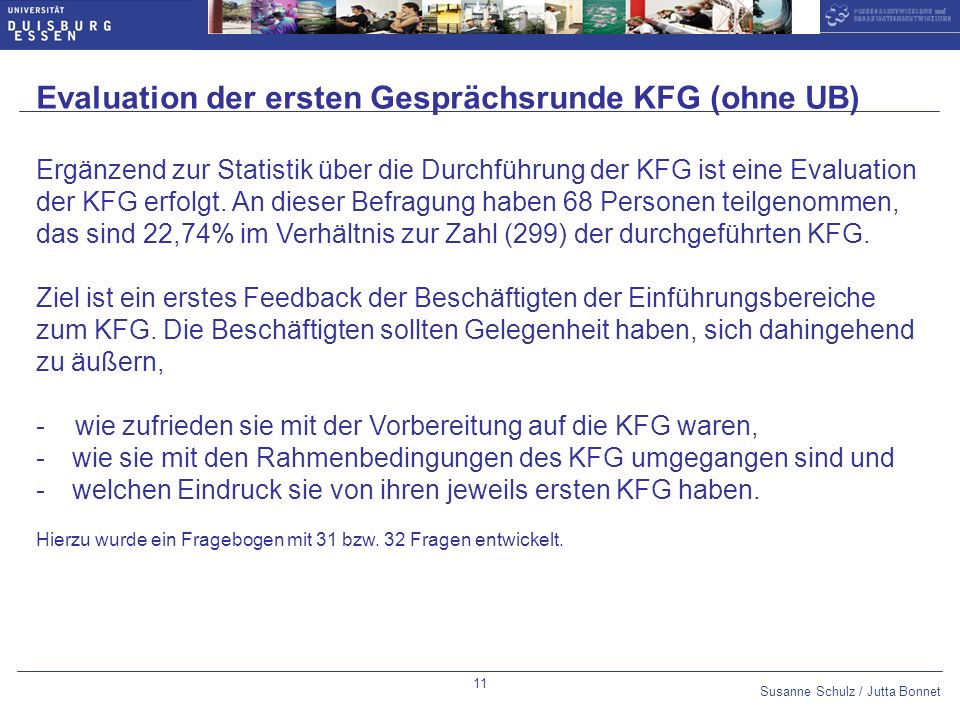 Evaluation der ersten Gesprächsrunde KFG (ohne UB)