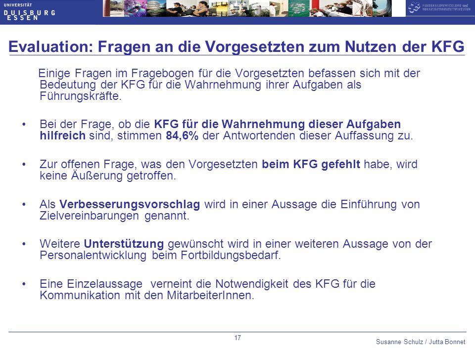 Evaluation: Fragen an die Vorgesetzten zum Nutzen der KFG
