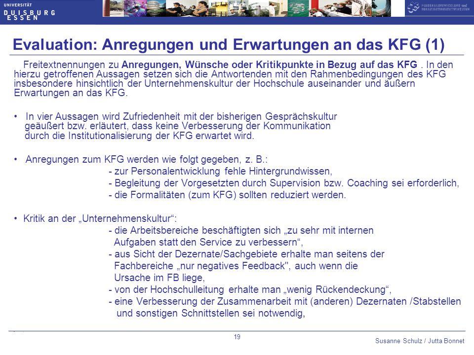 Evaluation: Anregungen und Erwartungen an das KFG (1)
