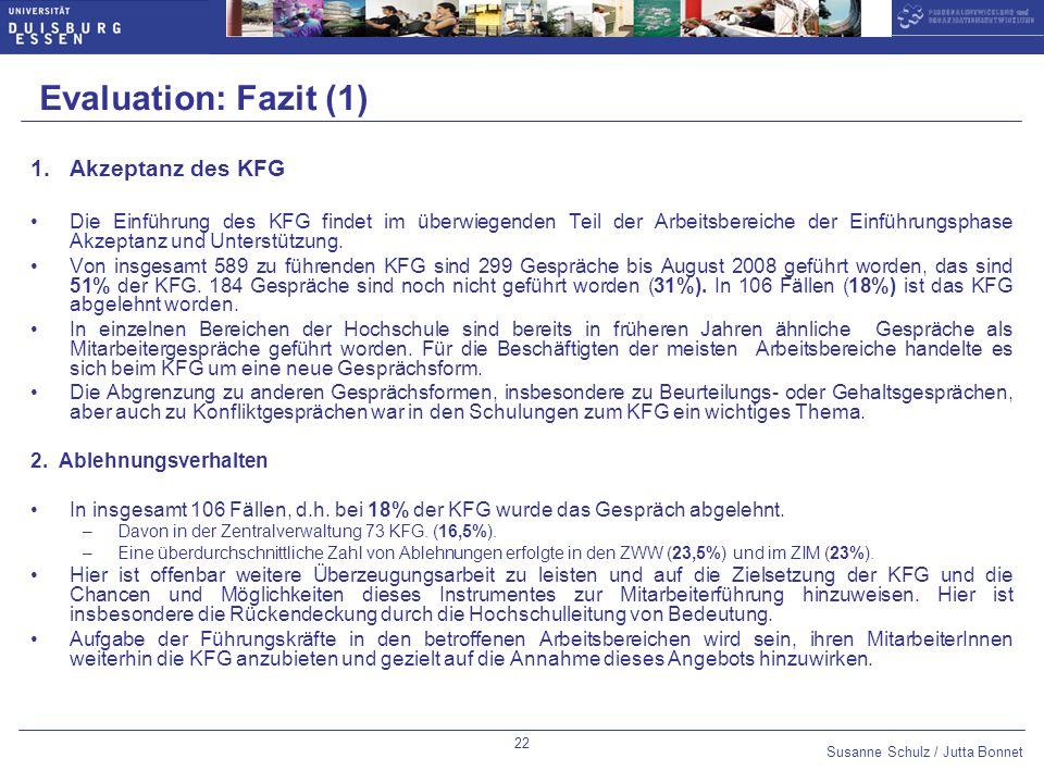Evaluation: Fazit (1) Akzeptanz des KFG