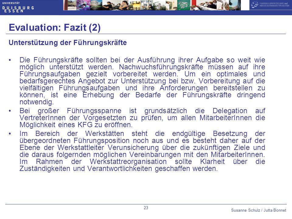 Evaluation: Fazit (2) Unterstützung der Führungskräfte