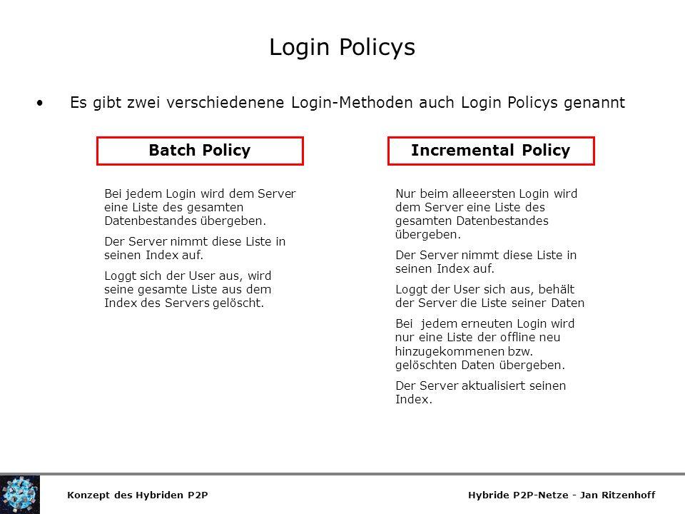 Login Policys Es gibt zwei verschiedenene Login-Methoden auch Login Policys genannt. Batch Policy.