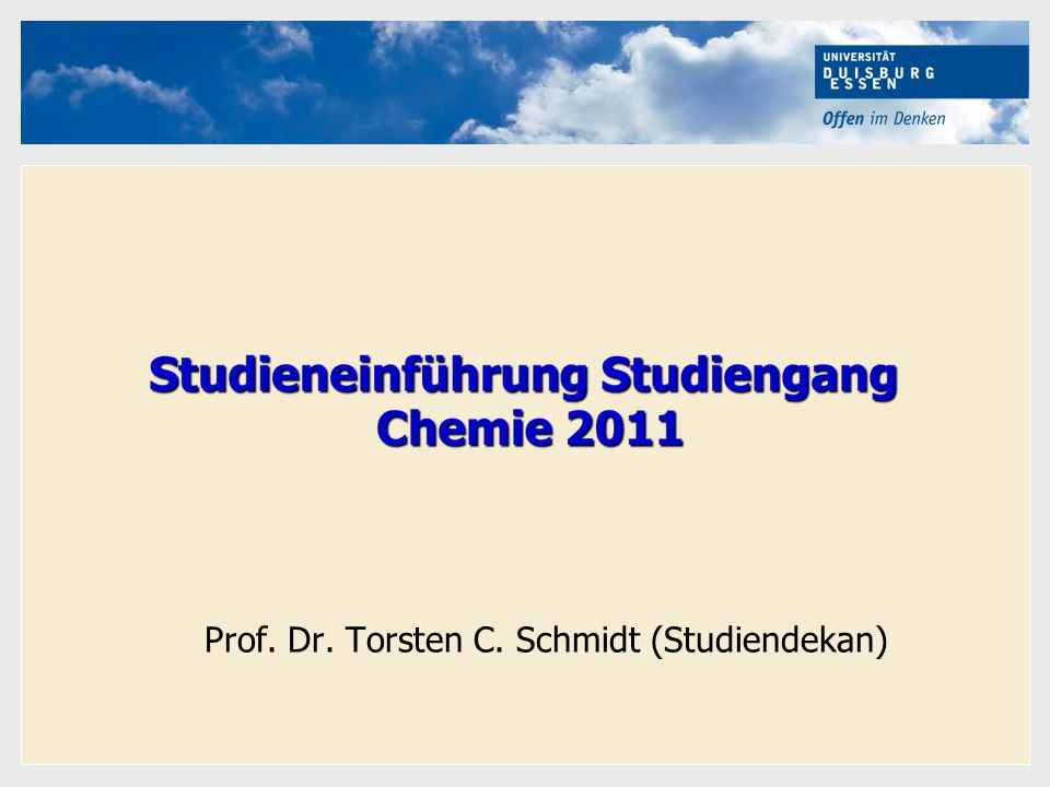 Prof. Dr. Torsten C. Schmidt (Studiendekan)