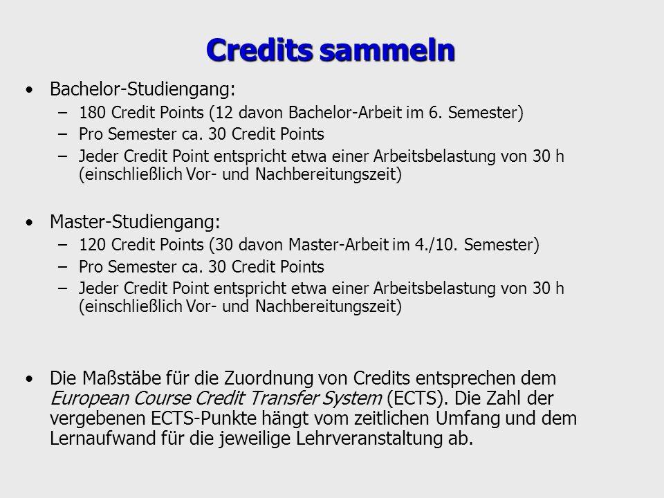 Credits sammeln Bachelor-Studiengang: Master-Studiengang: