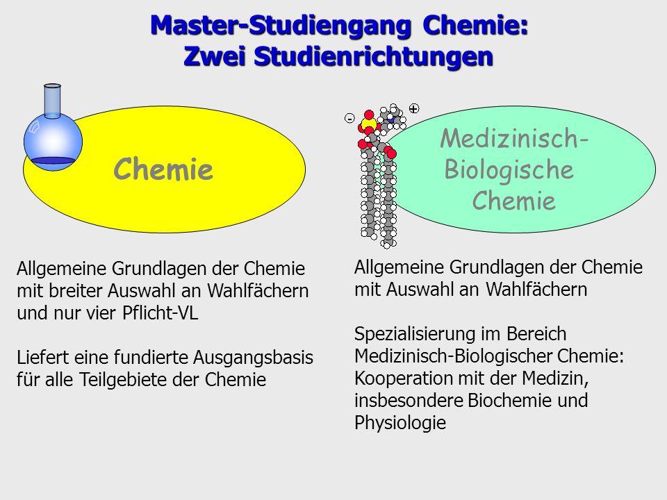Master-Studiengang Chemie: Zwei Studienrichtungen
