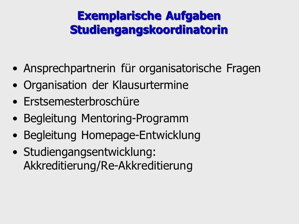 Exemplarische Aufgaben Studiengangskoordinatorin