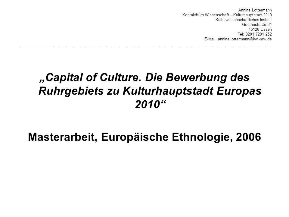 Masterarbeit, Europäische Ethnologie, 2006