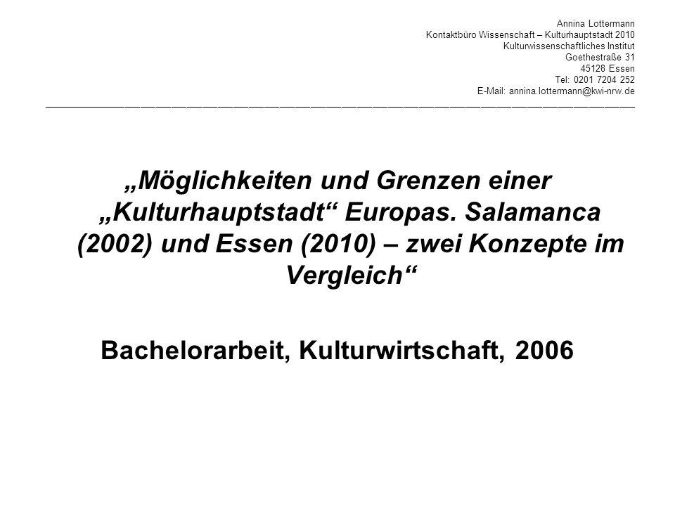 Bachelorarbeit, Kulturwirtschaft, 2006