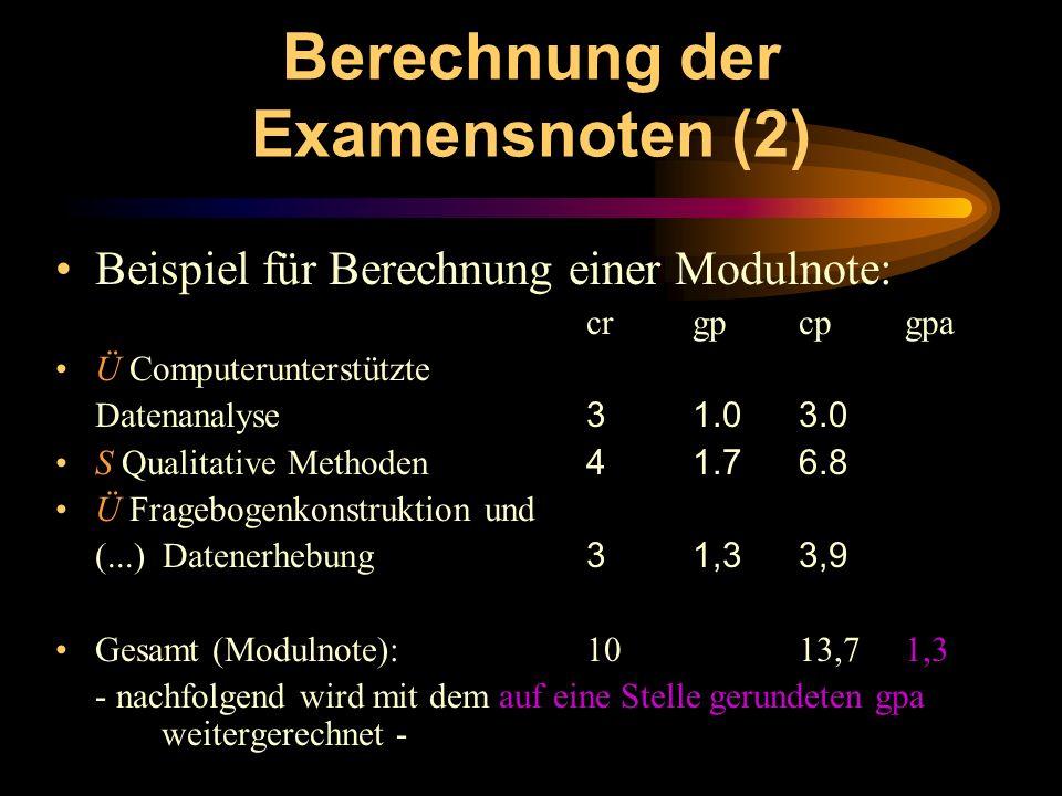 Berechnung der Examensnoten (2)