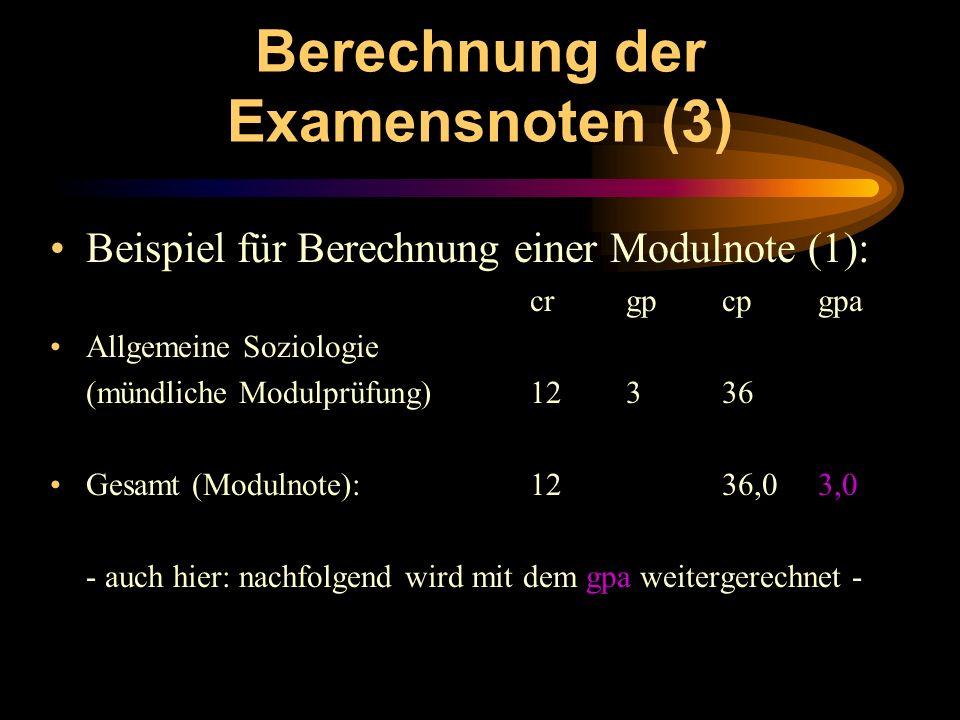 Berechnung der Examensnoten (3)