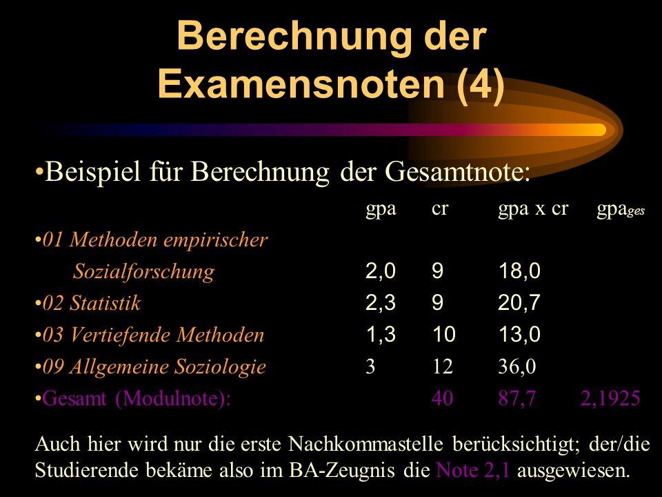 Berechnung der Examensnoten (4)