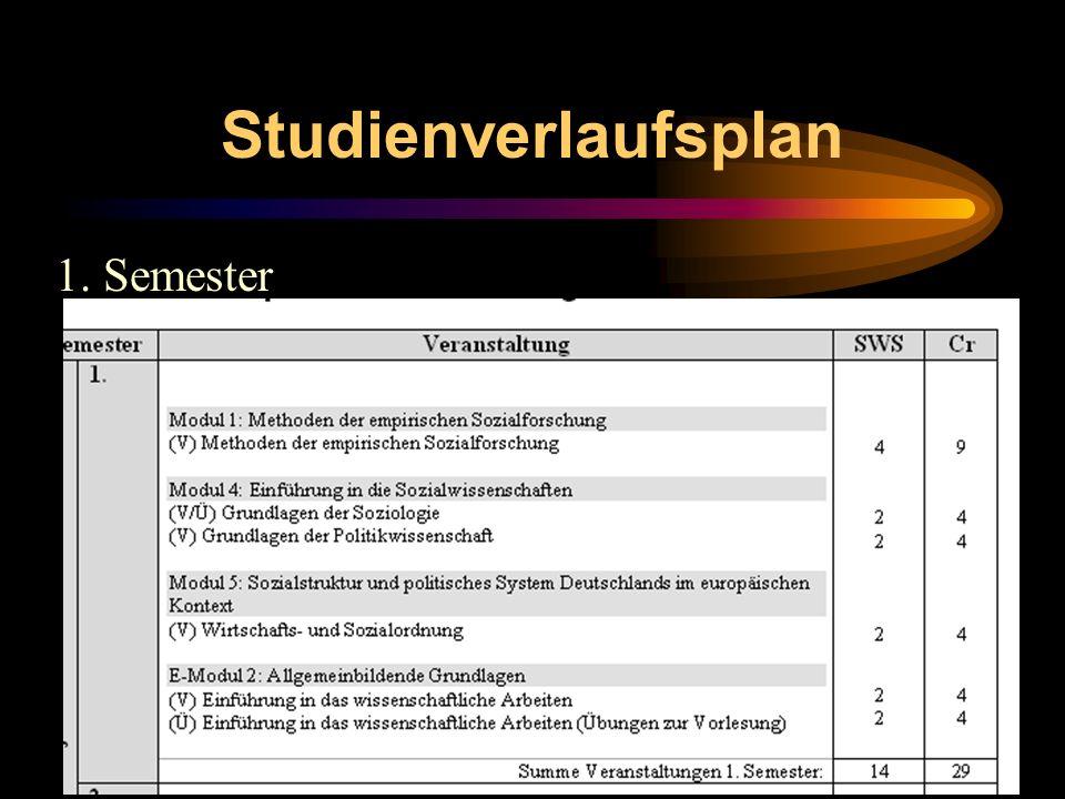 Studienverlaufsplan 1. Semester