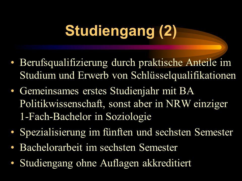Studiengang (2) Berufsqualifizierung durch praktische Anteile im Studium und Erwerb von Schlüsselqualifikationen.