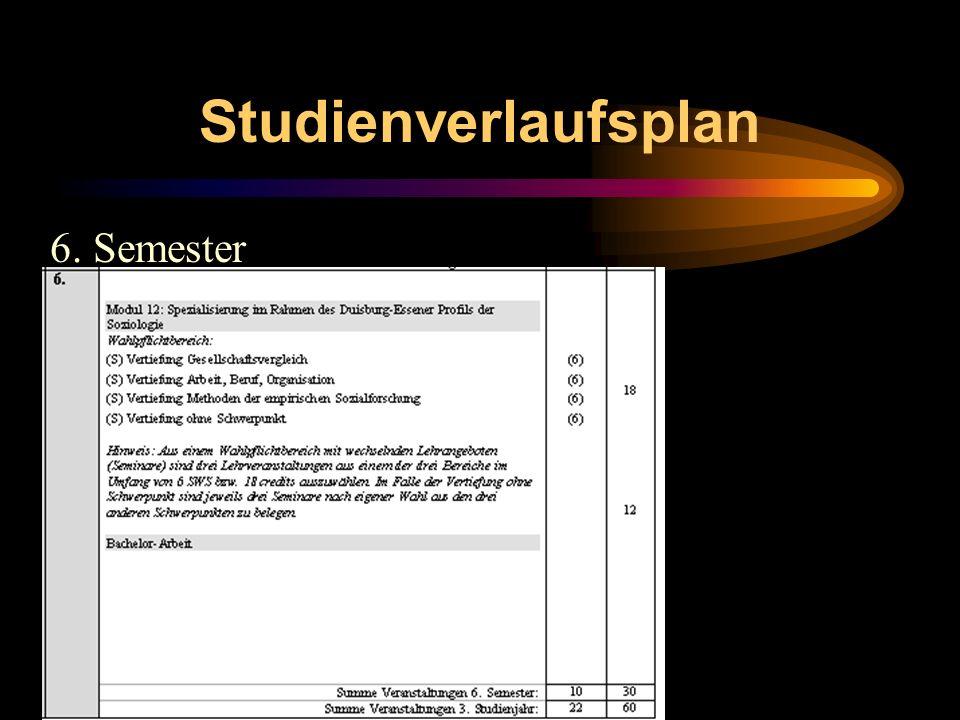 Studienverlaufsplan 6. Semester