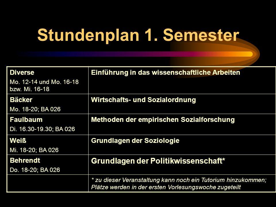 Stundenplan 1. Semester Grundlagen der Politikwissenschaft* Diverse