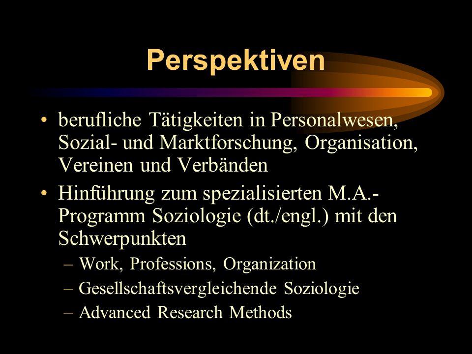 Perspektiven berufliche Tätigkeiten in Personalwesen, Sozial- und Marktforschung, Organisation, Vereinen und Verbänden.