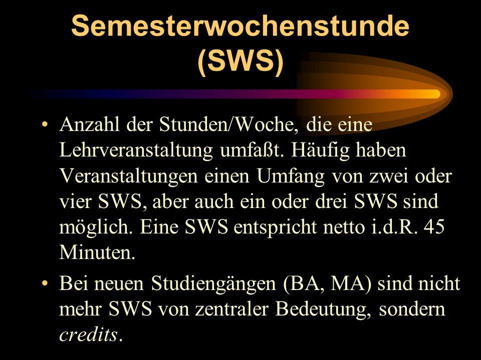 Semesterwochenstunde (SWS)