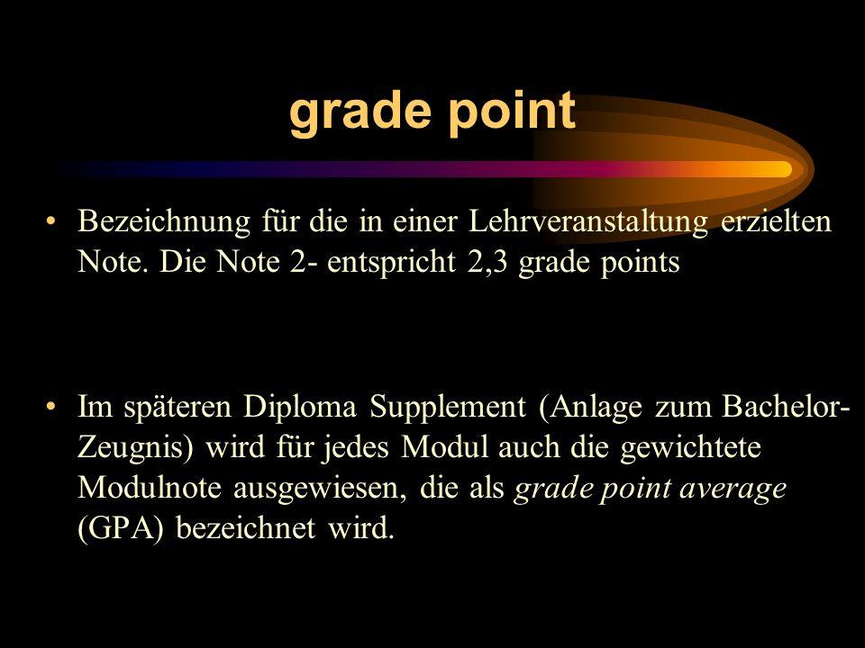 grade point Bezeichnung für die in einer Lehrveranstaltung erzielten Note. Die Note 2- entspricht 2,3 grade points.