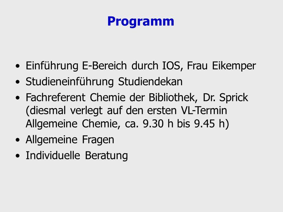 Programm Einführung E-Bereich durch IOS, Frau Eikemper