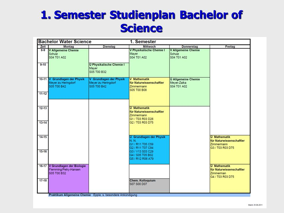 1. Semester Studienplan Bachelor of Science