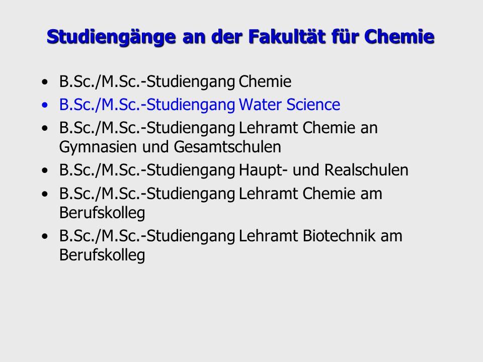 Studiengänge an der Fakultät für Chemie