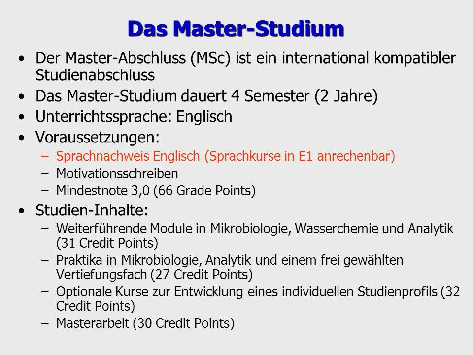 Das Master-Studium Der Master-Abschluss (MSc) ist ein international kompatibler Studienabschluss. Das Master-Studium dauert 4 Semester (2 Jahre)