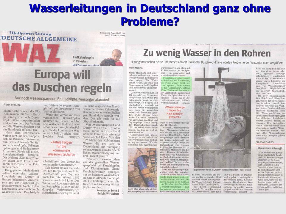 Wasserleitungen in Deutschland ganz ohne Probleme