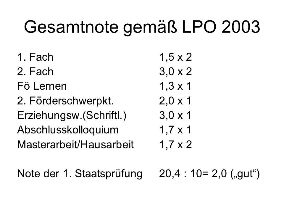Gesamtnote gemäß LPO 2003 1. Fach 1,5 x 2 2. Fach 3,0 x 2