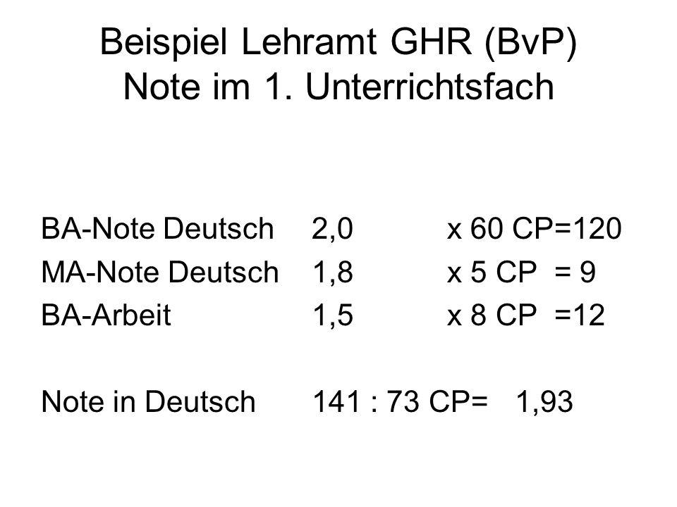 Beispiel Lehramt GHR (BvP) Note im 1. Unterrichtsfach