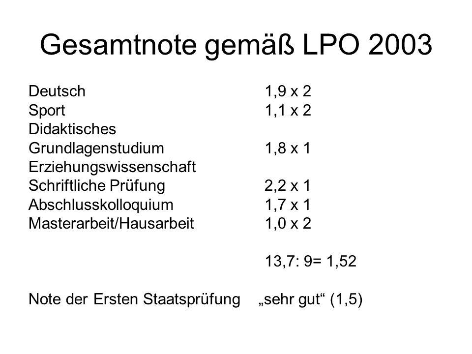 Gesamtnote gemäß LPO 2003 Deutsch 1,9 x 2 Sport 1,1 x 2 Didaktisches