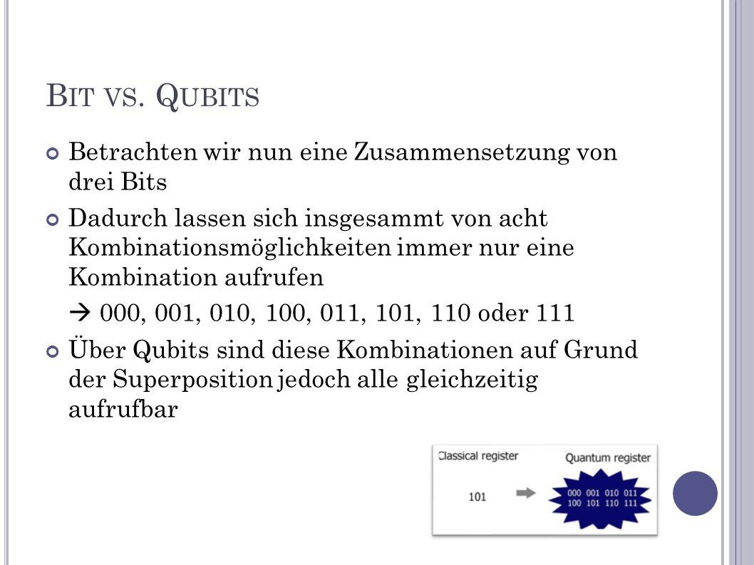 Bit vs. Qubits Betrachten wir nun eine Zusammensetzung von drei Bits