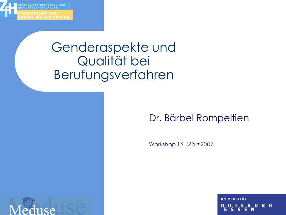 Genderaspekte und Qualität bei Berufungsverfahren