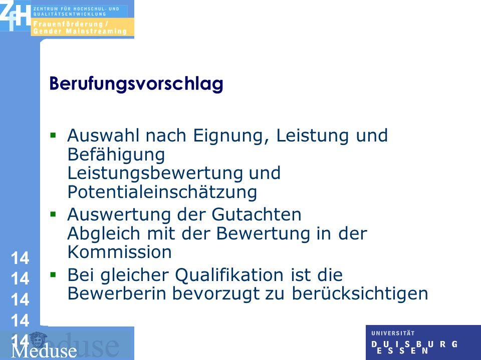 Berufungsvorschlag Auswahl nach Eignung, Leistung und Befähigung Leistungsbewertung und Potentialeinschätzung.