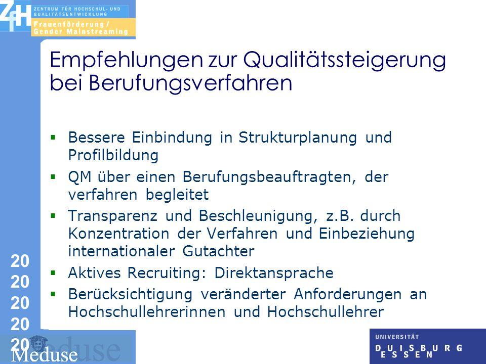 Empfehlungen zur Qualitätssteigerung bei Berufungsverfahren