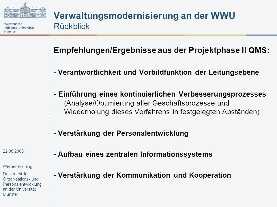 Verwaltungsmodernisierung an der WWU Rückblick
