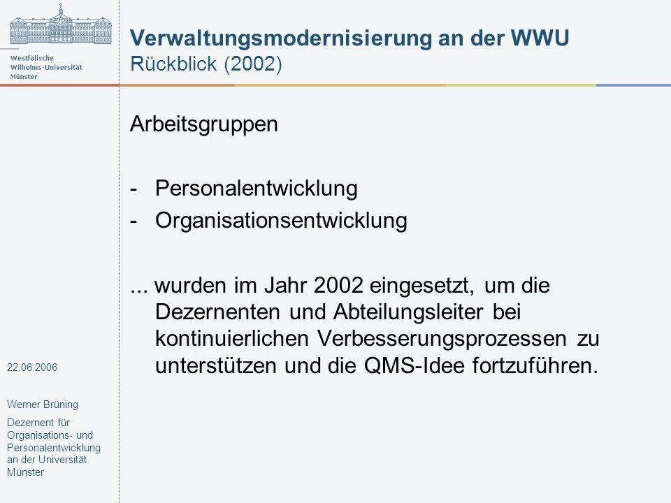 Verwaltungsmodernisierung an der WWU Rückblick (2002)