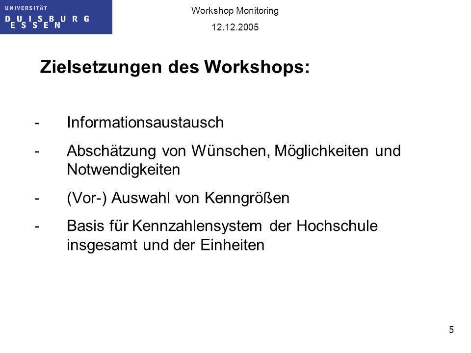 Zielsetzungen des Workshops: