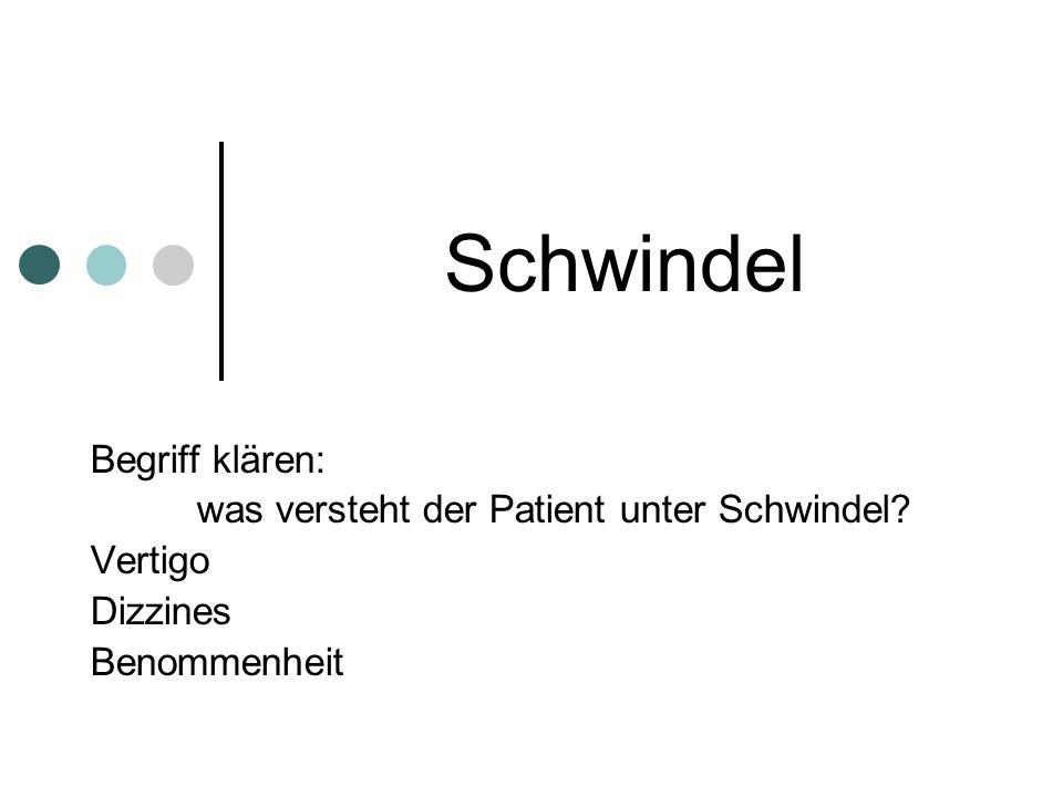Schwindel Begriff klären: was versteht der Patient unter Schwindel