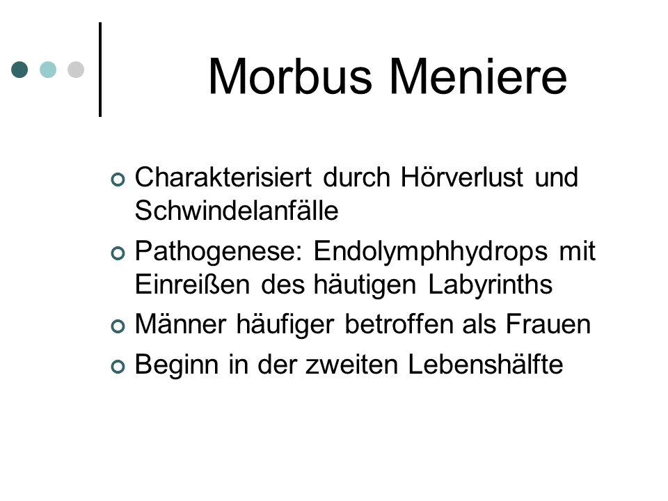 Morbus Meniere Charakterisiert durch Hörverlust und Schwindelanfälle