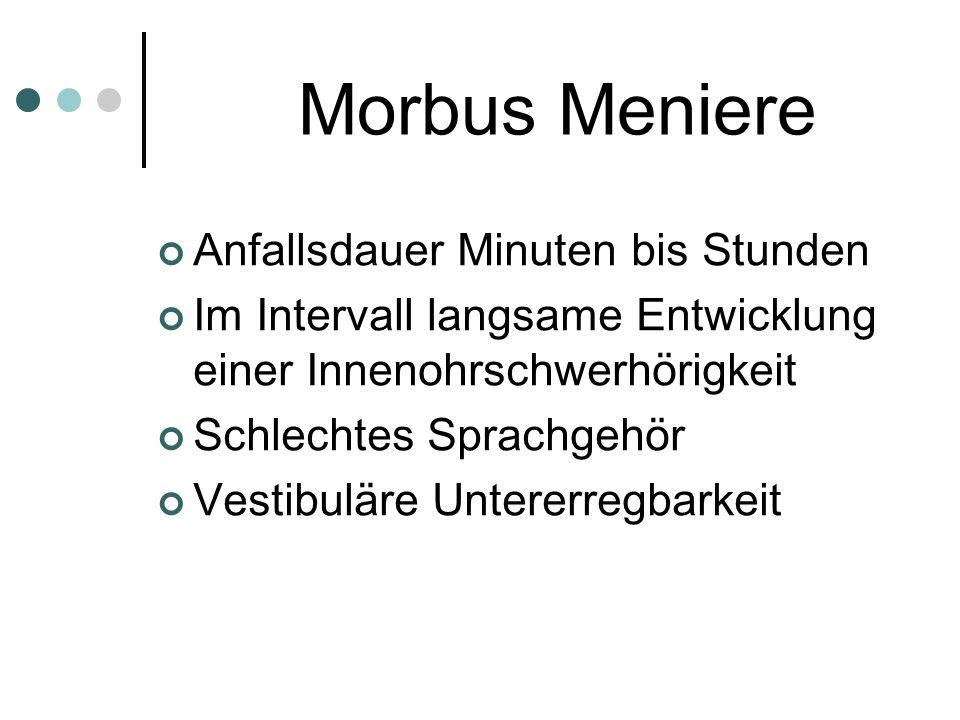 Morbus Meniere Anfallsdauer Minuten bis Stunden