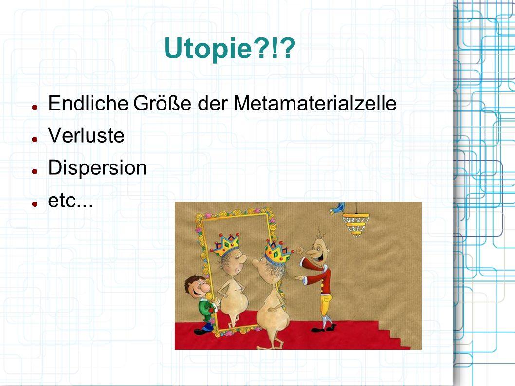 Utopie ! Endliche Größe der Metamaterialzelle Verluste Dispersion