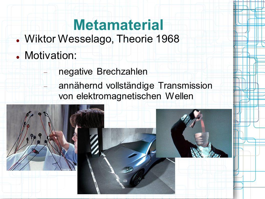 Metamaterial Wiktor Wesselago, Theorie 1968 Motivation: