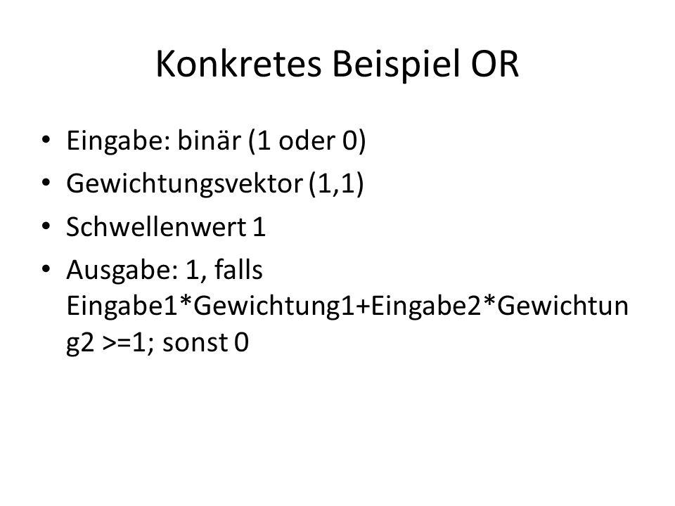 Konkretes Beispiel OR Eingabe: binär (1 oder 0)