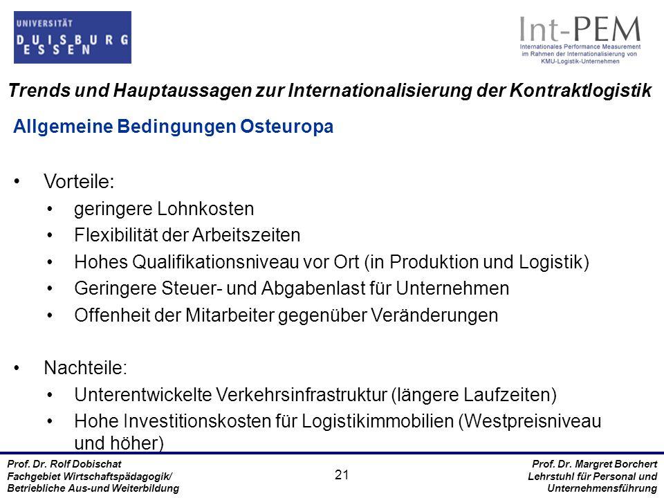 Trends und Hauptaussagen zur Internationalisierung der Kontraktlogistik