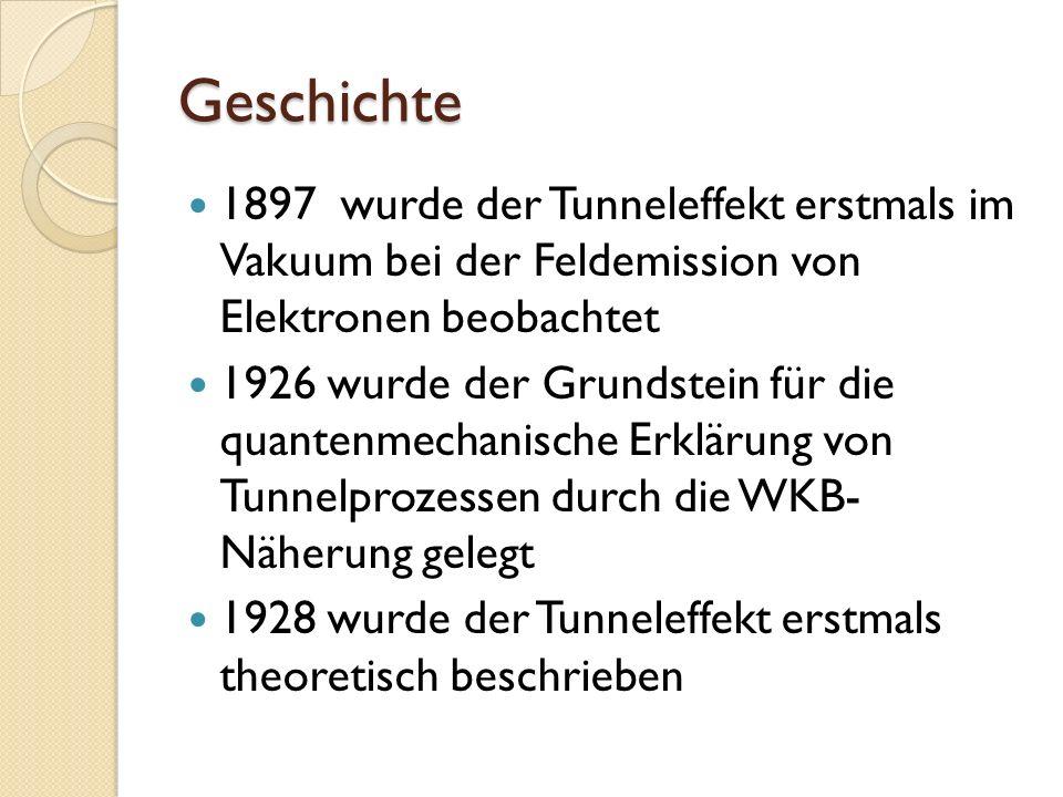 Geschichte 1897 wurde der Tunneleffekt erstmals im Vakuum bei der Feldemission von Elektronen beobachtet.